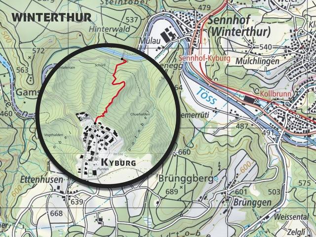 Karte der Kyburg