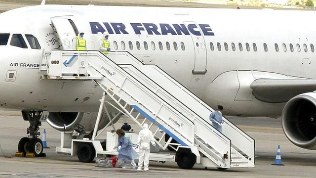 Die isolierte Air-France-Maschine in Madrid.