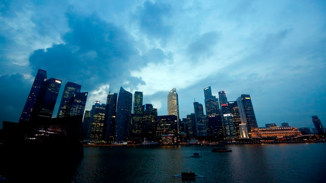 Blick auf die Skyline Singapurs.