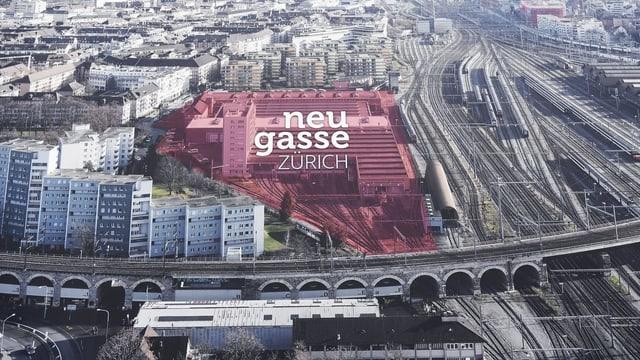 Stadtansicht mit geplantem Projekt Neugasse.