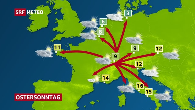 Das Wetter am Ostersonntag in 10 Städten Europas.