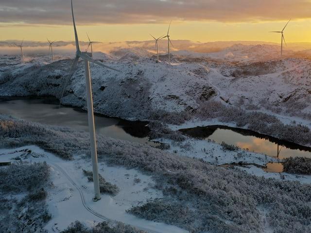 22 Windturbinen in Norwegen liefern dem Elektrizitätswerk der Stadt Zürich Strom.