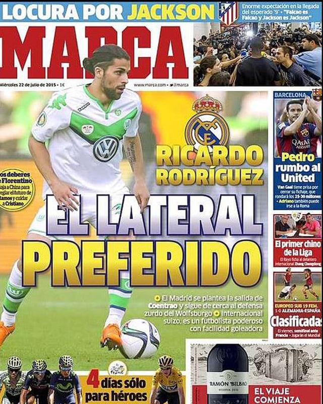 Ricardo Rodriguez auf der Titelseite der spanischen Zeitung Marca.