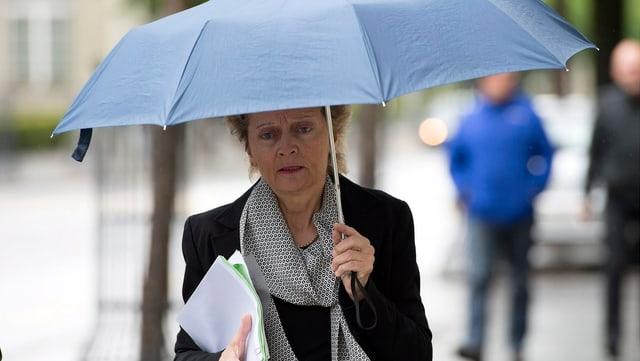 Eveline Widmer-Schlumpf mit Regenschirm.