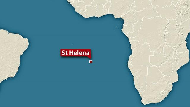 Karte, auf der St. Helena eingezeichnet ist.