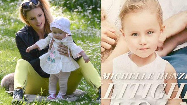 Zwei Bilder: Michelle Hunziker mit einem Baby im Gras sitzend. Und ein Mädchen in weissem Kleidchen in die Kamera blickend.