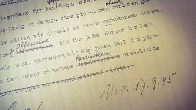 Manuskript zum Interview mit US-Armeeberichterstatter John Shaw im 1. «Echo der Zeit» vom 17,9.1945.