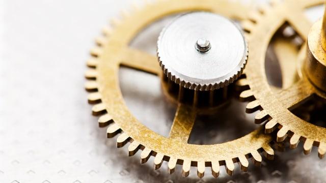 Uhrwerk mit zwei goldenen Zahnrädern