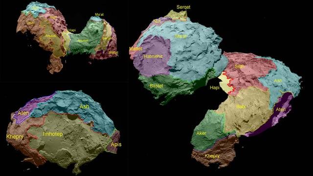 Eingefärbte Ansichten des Kometen Tschuri mitsamt den Namen der einzelnene Gegenden.