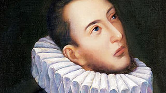 Porträt von Carlo Gesualdo, nah und nach schräg oben blickend.