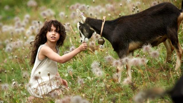 Heidi füttert auf einer Bergwiese eine Geiss. Noch trägt das Naturmädchen eine Langhaarfrisur.
