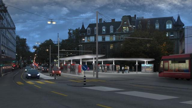 Tram Region Bern auf dem nächtlichen Eigerplatz