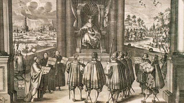 Eine Zeichnung vom Augsburger Religionsfrieden.
