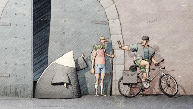Zeichnung: eine Nonne, ein Wanderer und ein Radfahrer vor einem grossen Tor.