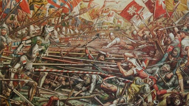 Schlacht mit Toten und Verletzten und Spiessen und Standarten