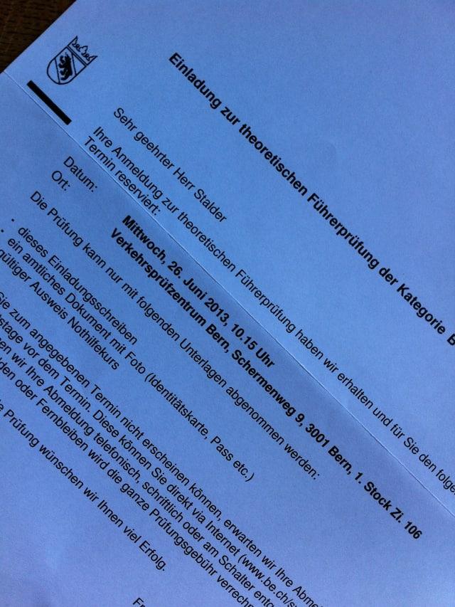 Ein Schreiben des Kantons Bern. Reto Stalder wird zur theoretischen Führerprüfung eingeladen.