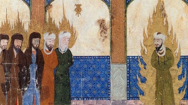 Eine persische Darstellung von Mohammed, Jesus, Abraham und Moses.