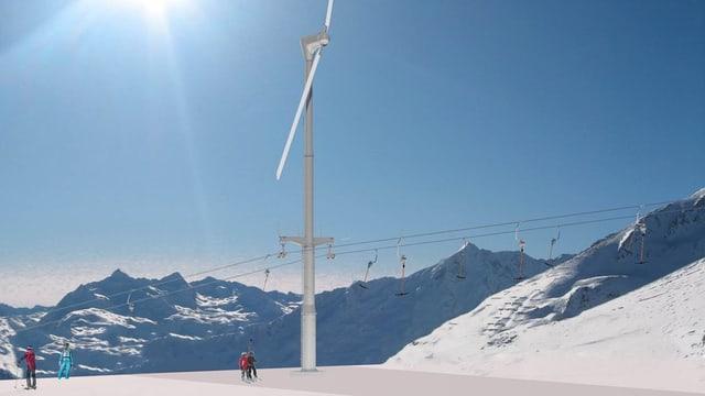 Visualisierung Skilift mit Windrad