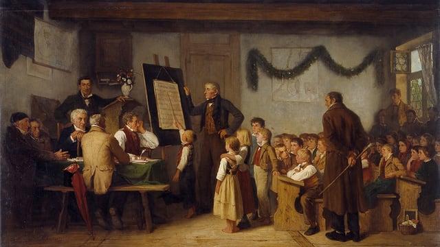 Gemälde: Klassenzimmer mit vielen Kindern