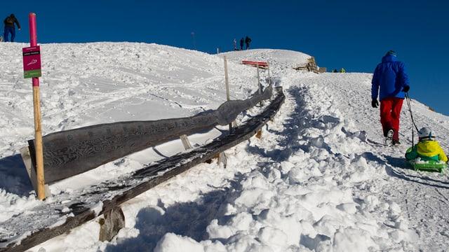 Die Holzbank im Winter. Sie ist darum schneebedeckt.