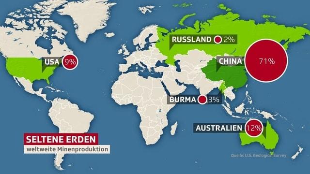 Weltweite Minenproduktion seltener Erden