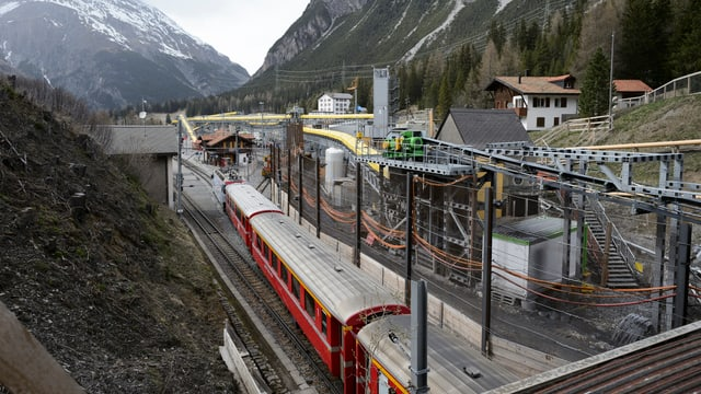 Baustelle beim Albula-Tunnel im Kanton Graubünden.
