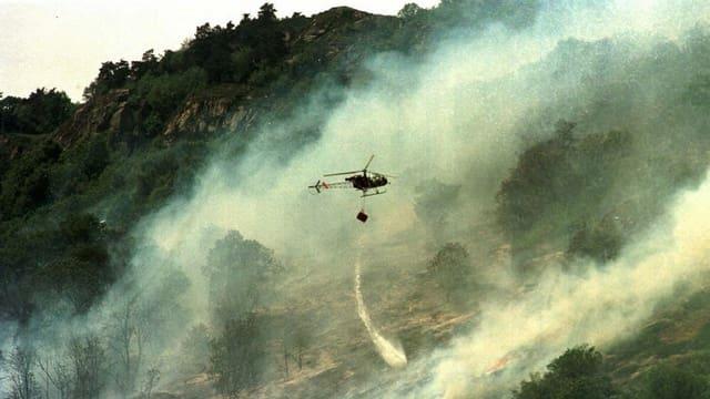 Ein Helikopter versucht mit Wasser den Waldbrand zu löschen.