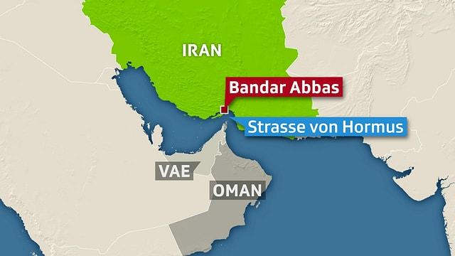 Karte der Strasse von Hormus