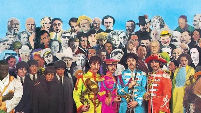 Beatles-Cover zu Sgt. Pepper: Viele zusammengesetzte, verschiedenfarbige Prominente.