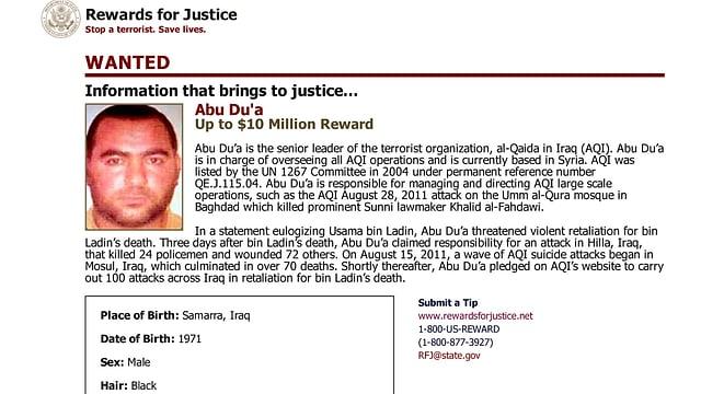Fahngungsaufruf der USA für Bagdadi.