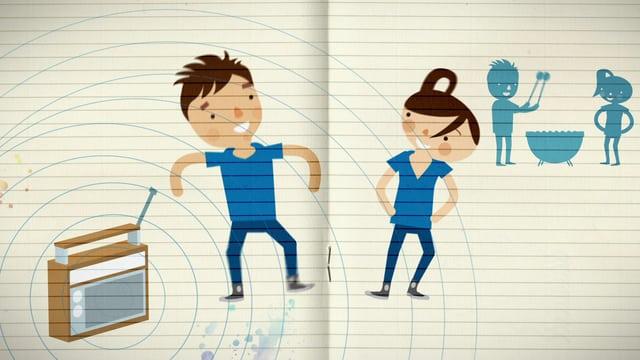 Ein gezeichneter Junge und ein Mädchen tanzen neben einem Radio.