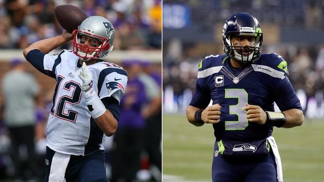 Tom Brady (l.) von den New England Patriots und Russell Wilson von den Seattle Seahawks.