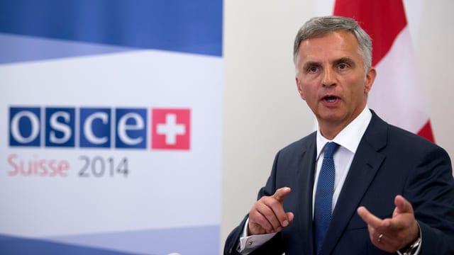 Aussenminister Didier Burkhalter spricht an einer OSZE-Veranstaltung im Jahr 2014.