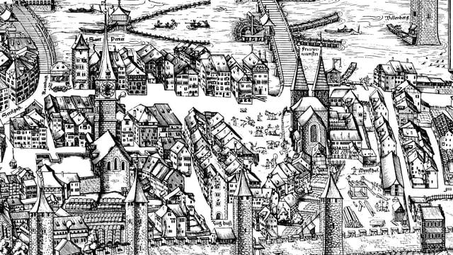 Ein historischer Stich der Stadt Zürich aus dem 16. Jahrhundert