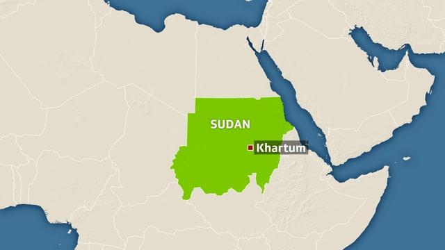 Der Sudan liegt im Nordosten Afrikas.