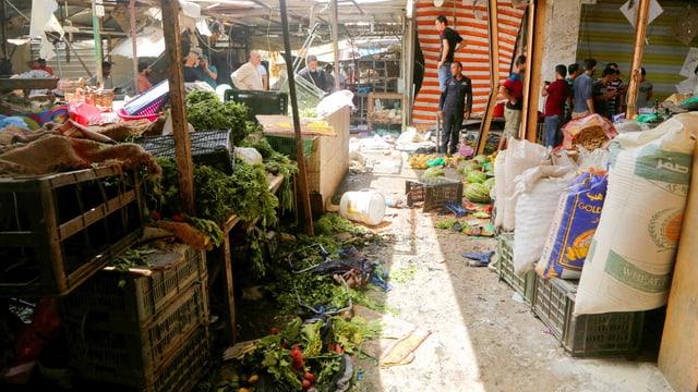 Markt in Bagdad, der zerstört ist.