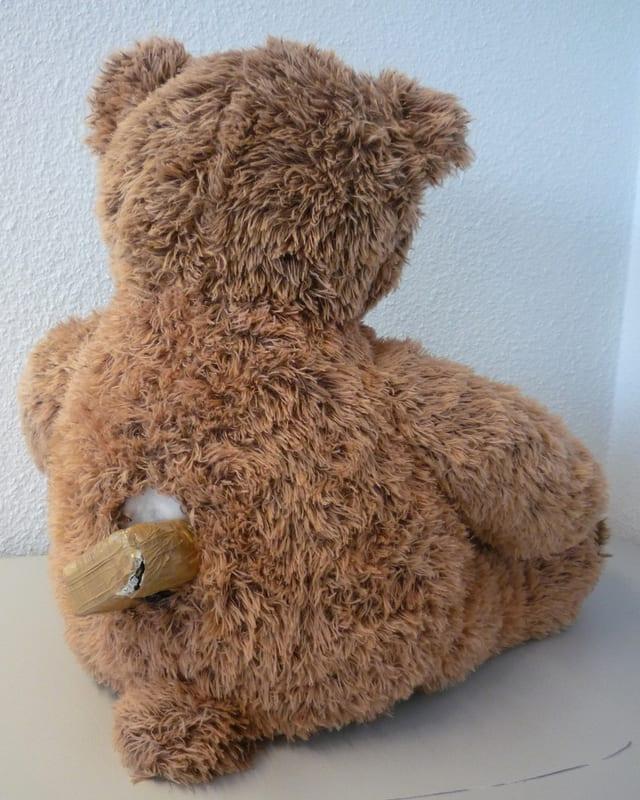 Rückenansicht des Teddys. Aus einem Loch erscheint eine Platte Marihuana.