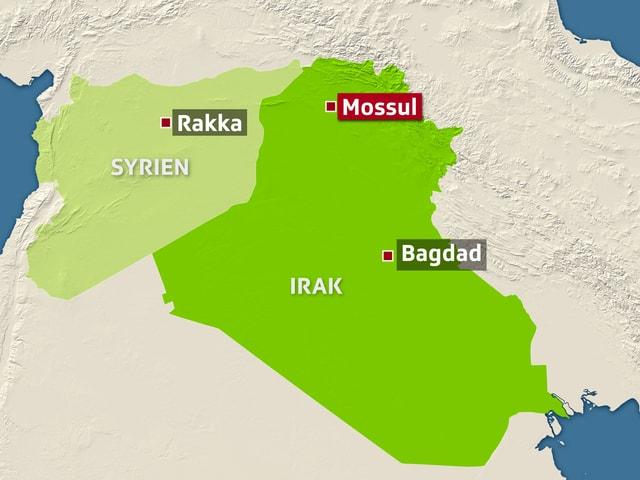 Landkarte mit Syrien und Irak, darauf die Städte Rakka, Bagdad und Mossul.