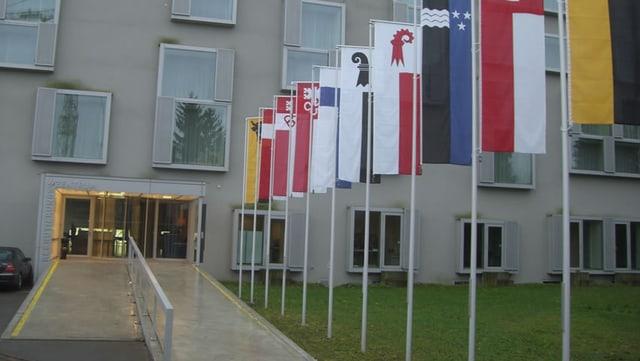 Das Rekrutierungszentrum von Windisch von aussen, mit diversen Kantonsfahnen neben dem Gehweg.