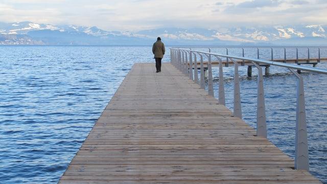 Ein Steg des Seeuferwegs führt über den See