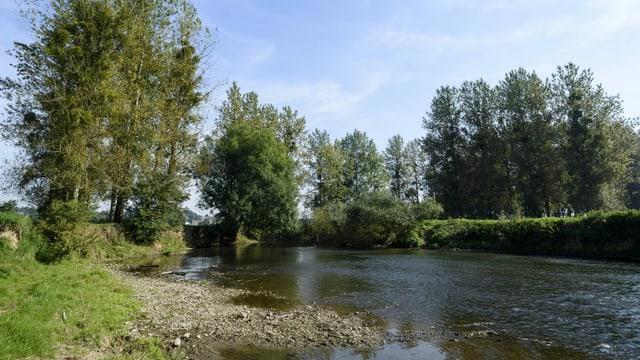 Die Oise, ein Nebenluss der Aisne, mit wenig Wasser