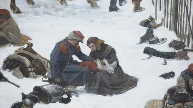 Gemälde-Ausschnitt: Frau pflegt Soldat