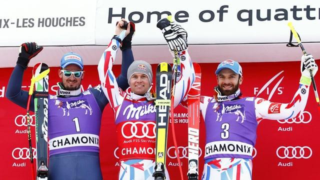 Alexis Pinturault (amez), Dominik Paris (san.) e Thomas Mermillod Blondin (dretg)