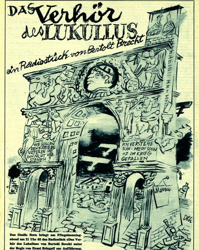 Zeichnung mit römischem Torbogen
