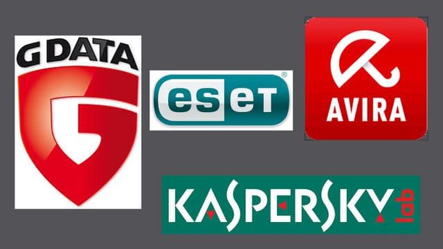 Logos von G Data, Eset, Avira und Kaspersky.