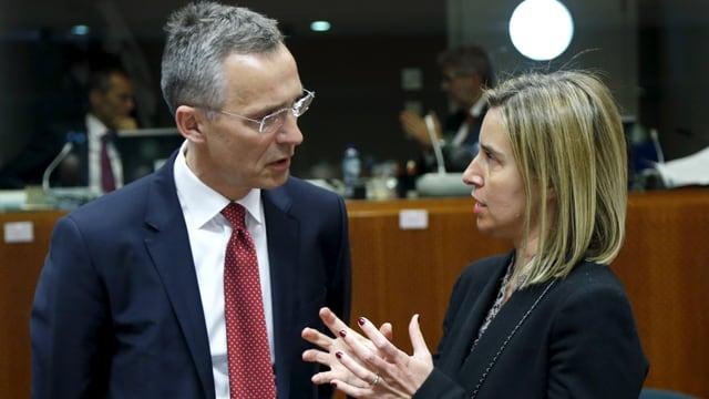 Federica Mogherini im Gespräch mit Nato-Generalsekretär Stoltenberg