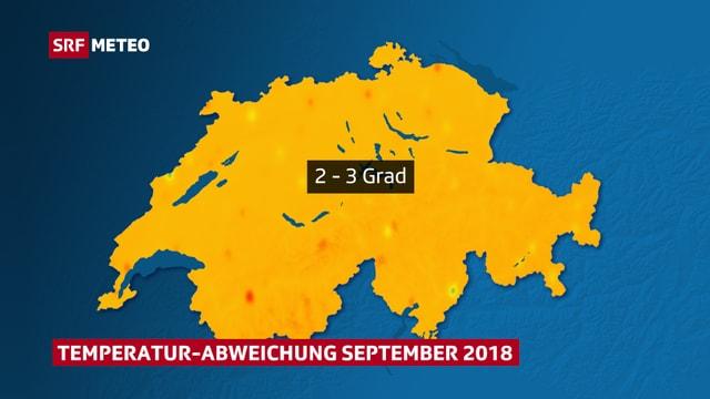 Orange eingefärbte Schweizerkarte mit der Temperatur-Abweichung im September 2018.