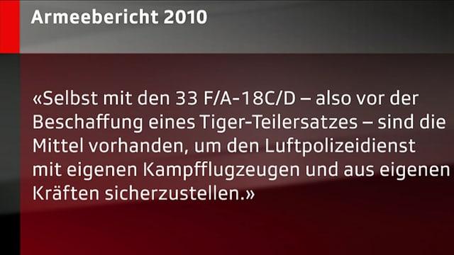 Ausschnitt aus dem Armeebericht 2010.