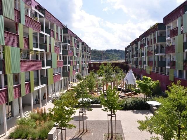 Begrünter Innenhof der Giesserei-Siedlung