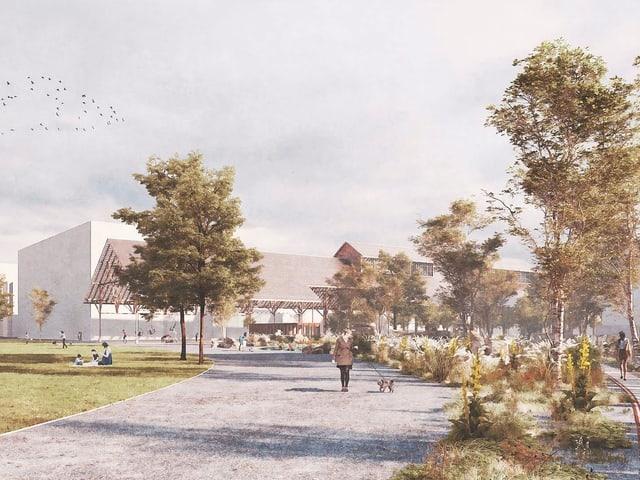 Der Park mit Kochwiese und lichtem Baumbestand am Rand.